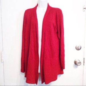 AVENUE Plus Size Red Glitter Open Front Cardigan